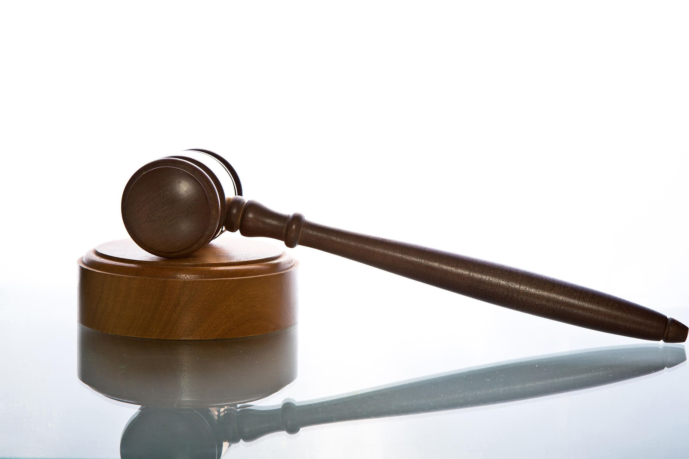 Law gavel with reflection