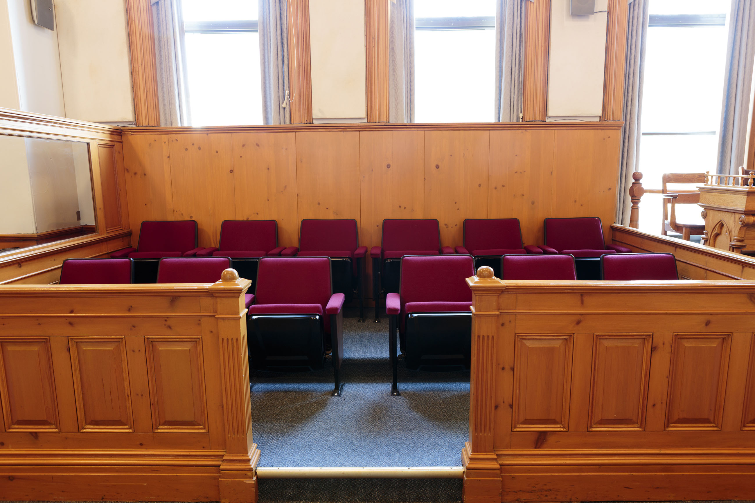 ST. JOHN'S, NEWFOUNDLAND AND LABRADOR, CANADA - SEPTEMBER 23, 2017. Seats of the jury box in courtroom number 1 at the Supreme Court, taken on september 23, 2017 in St. John's .